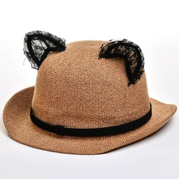 052c58c3f1152 Summer Fedora Straw Sun Hats with Lace Cat Ear Cap Cute Women Pa