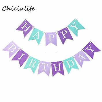 Chicinlife Happy Birthday Bunting Banner Mermaid theme Birthday party Decoration Kids favor