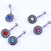 ac PEAPO2Q Vintage flower belly button rings body jewelry women  crystal navel piercing sexy pircing septum ring