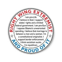 Right Wing Extremist Round Sticker from Zazzle.com