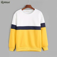 ROMWE Women Color Block Long Sleeve Sweatshirt 2017 Multicolor Round Neck Tops Autumn Drop Shoulder Pullover
