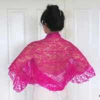 Luxury silk shrug, hot pink kid mohair sweater, fine hand knit sweater with crochet edge
