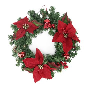 """16"""" Pre-Decorated Lighted Artificial Pine and Poinsettia Christmas Wreath - Warm White LED Lights"""