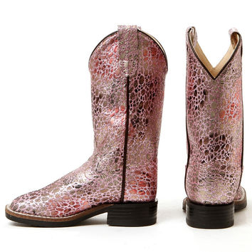 Old West Kids Pink Glitter Leopard Square Toe Cowgirl Boots