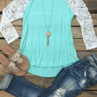 mint top with lace long sleeves