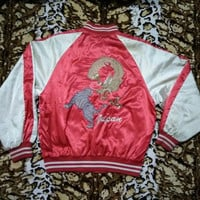 vintage 90s Embroidered SOUVENIR SATIN SUKAJAN Yakuza Dragon Vs Roar Tiger jacket Large Size
