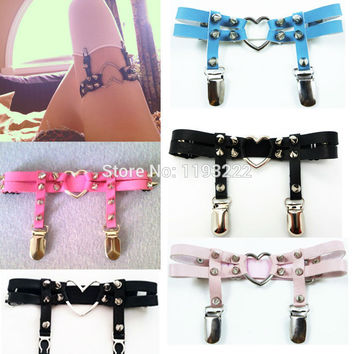 2 Style Big Heart Handmade Sexy Punk Gothic Sock Stocking Heart Garter Belt Double Row Studded Suspender Leg Ring