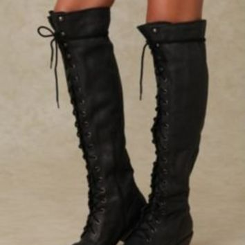 Jeffrey Campbell Joe Lace Up Over the Knee Boot at Free People Clothing Boutique