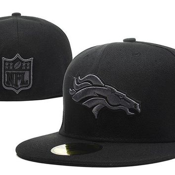 auguau Denver Broncos New Era 59FIFTY NFL Football Cap All-Black