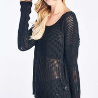 Black Long Sleeve Knit Sweater Top