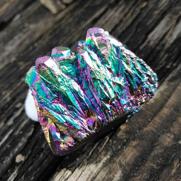 Rainbow Angel Aura Quartz Crystal - Titanium Quartz - Crystal Cluster - Quartz Cluster - Angel Aura - Reiki Infused - Healing Crystal #557