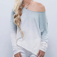 Autumn/Winter Women Gradient Color Long-sleeved Knit T-shirt
