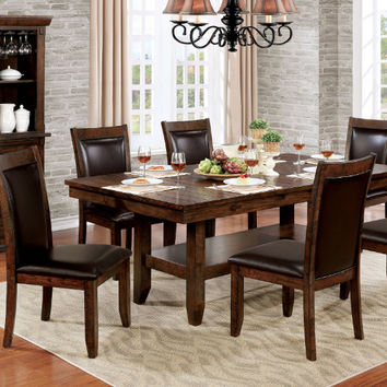 Furniture of america CM3152T-7PC 7 pc meagan i rustic plank brown cherry finish wood dining table set