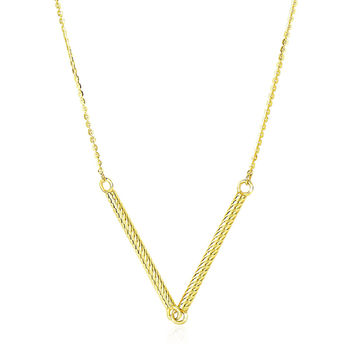 14K Yellow Gold Chain Necklace with Two Connected Thin Bar Pendant