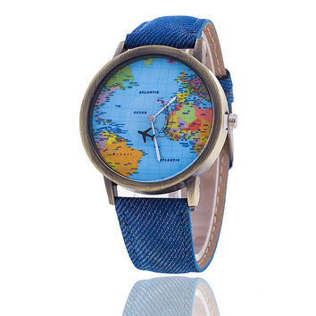 Fashion Watch Women Global World Map Plane Denim Fabric Band Wristwatch Casual Quartz Watch Female Clock Relogio Feminino 1553