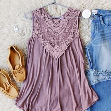 Lace Gypsy Tank in Taupe
