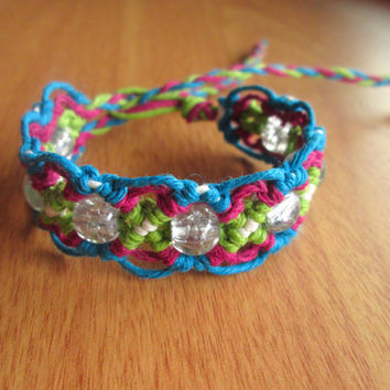 Beaded Hemp Bracelet - Crackle Glass Bead Macrame Bracelet, Diamond Pattern, Gifts for Teens, Hemp Jewelry