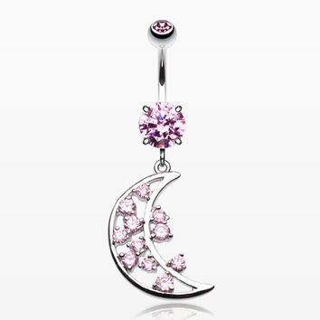 Twinkling Moon Belly Button Ring