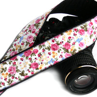 DSLR Camera Strap. Floral Camera Strap. Spring Camera Strap with flowers. Women Accessories