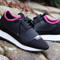 Balenciaga Women Black/Pink Race Runner Sneakers
