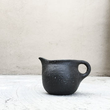 BLACK CREAMER PITCHER 8 oz, ceramic, pottery, handmade, rustic, coffee, tea, milk, syrup, pancakes