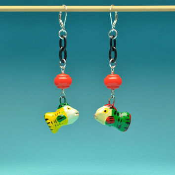 Folk Art Fish Earrings