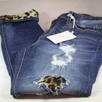 Women's KanCan Destoryed Strech Jeans with Leopard Patch