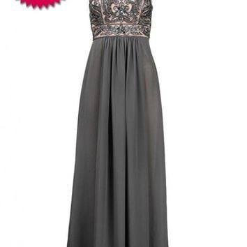 Sue Wong N4102 Charcoal Sequin & Chiffon Evening Gown - Size 10