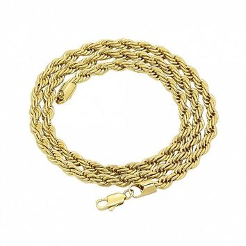 Gold Layered Basic Necklace, Rope Design, Golden Tone