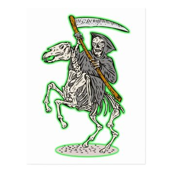 grim reaper on horse with scythe postcard