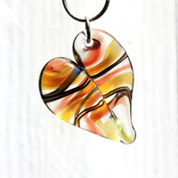 Twisted Glass Heart, Heart Necklace Glass, Hand Blown Lampwork Jewelry, Borosilicate glass Focal Bead, Handmade USA
