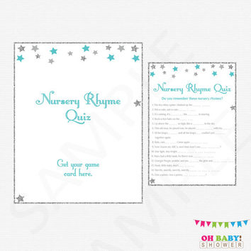 Teal Baby Shower Nursery Rhyme Quiz Twinkle Twinkle Little Star Baby Shower Printable Download Silver Gray Teal Baby Shower Games Boy STGST