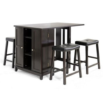 5-Piece Modern Pub Table Set with Cabinet Base in Dark Brown