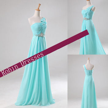 New Prom Dresses, Custom-made Long Floor Length One Shoulder Prom Dresses Party Dresses