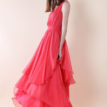 Ethereal Waterfall Chiffon Maxi Dress in Hot Coral