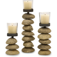 IMAX Cairn Stone and Glass Candlestick (Set of 3)