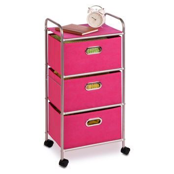Honey-Can-Do CRT-02348 Fabric Rolling Cart with 3 Drawers Pink