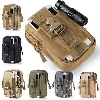 Outdoor Tactical Holster Military Molle Hip Waist Belt Bag Wallet Pouch Purse Phone Case with Zipper for iPhone 7 /LG.