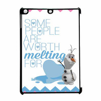 Olaf Quote Melting The Disney Frozen Pink Blue Chevron iPad Air Case