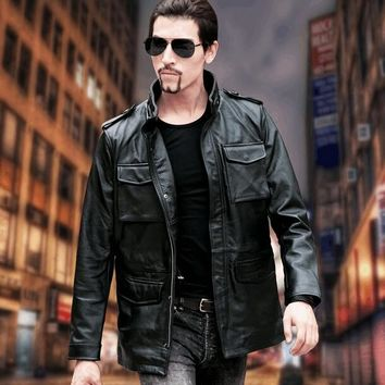 DHL Free .plus Brand classic men M65 cow leather Jackets men's genuine Leather biker jacket.sales plus size 6