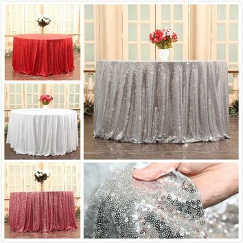 PartyDelight Fashion Brightly Shining Sparkly Pure Sequins Tablecloth 108inch Diameter Round Table Decoration Tablecloth Table C