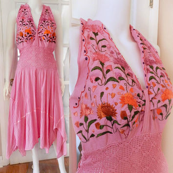 Vintage Pink Halter Handkerchief Gauze Dress, Crochet Knit Waist Dress, Gypsy Boho Floral Embroidered Pink Dress Size S/M
