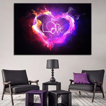 Pink Purple Flame Love Heart 1 Single Panel Wall Art on Canvas Print Picture