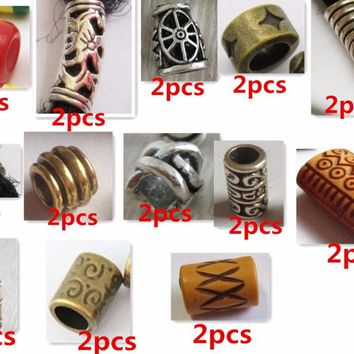26Pcs/Lot mix styles hair braid dread dreadlock beads clips cuff
