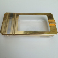 Clear glass and brass mid century modern mint condition ashtray
