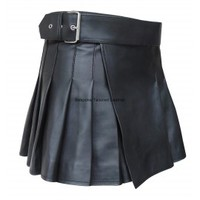 Leather Wrap Around Style Black Kilt