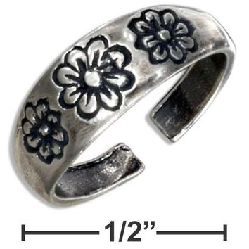 Sterling Silver Triple FlowersToe Ring with Adjustable Band