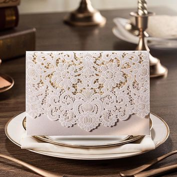 100pcs New Arrival Horizontal Laser Cut Wedding Invitation with White Hollow Flora Favors,Customizable,CW073