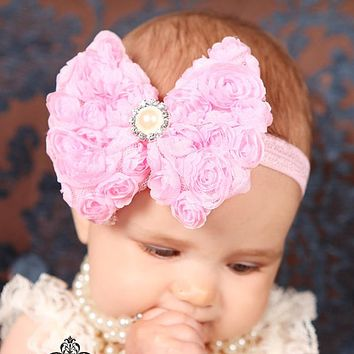 Baby Girl Big Bow Floral 02 Headband