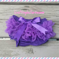 Purple Diaper Cover - Purple Bloomers - Purple Ruffle Bloomers - First Birthday Cake Smash - Newborn Bloomers - Chiffon Bloomers - Infant